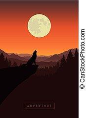 natuur, wolf, landscape, bos, howls, maan, volle, klip