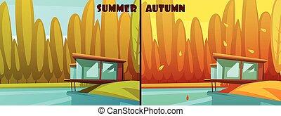 natuur, zomer, herfst, retro, spotprent, set
