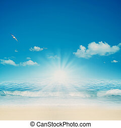 natuurlijke , achtergronden, ontwerp, retro, ocean., jouw
