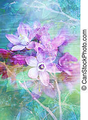 natuurlijke , artistiek, achtergrond, grunge, bloemen, mooi