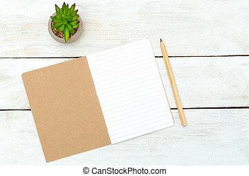 natuurlijke , briefpapier, op, houten, achtergrond., nul, afval