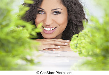 natuurlijke gezondheid, concept, mooie vrouw, het glimlachen