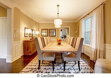 natuurlijke , kamer, groot, het dineren, hout, ontwerp,...