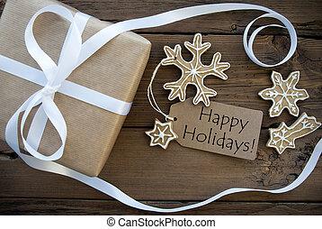 natuurlijke , kerstmis, achtergrond, met, vrolijke , feestdagen, etiket