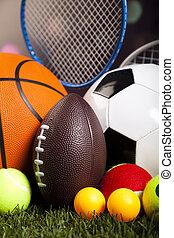 natuurlijke , kleurrijke, spel, uitrusting, sporten, toon