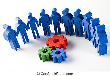 natuurlijke , kleurrijke, werken, vergadering, team, toon