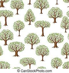 natuurlijke knippatroon, abstract, seamless, illustratie, stylized, bomen.