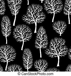natuurlijke knippatroon, abstract, seamless, stylized, silhouettes, achtergrond, bomen., witte