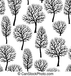 natuurlijke knippatroon, abstract, seamless, stylized, silhouettes, black , bomen., aanzicht