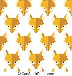 natuurlijke knippatroon, seamless, vossen, papier, vector
