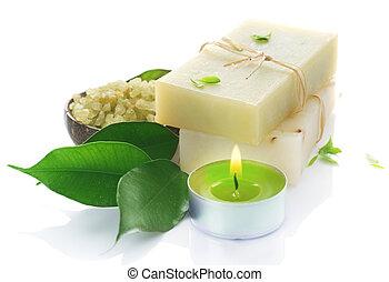 natuurlijke , met de hand gemaakt, zeep, op, white., spa