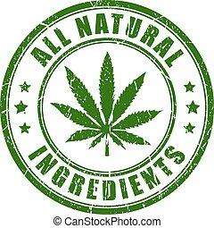 natuurlijke , postzegel, rubber, hennep