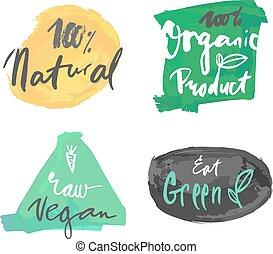 natuurlijke , product, vector, organisch, etiket