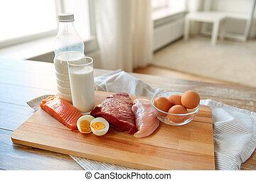 natuurlijke , proteïne, voedingsmiddelen, op, wooden table