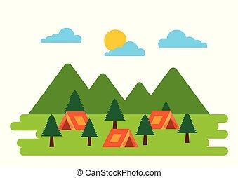 natuurlijke , tentjes, kamp, boompje, pijnboom woud, avontuur