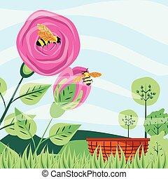 natuurlijke , wicker, scène, rozen, bijtjes, mand