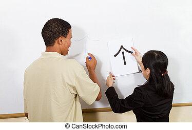 nauczanie, chińczyk, student, afrykanin