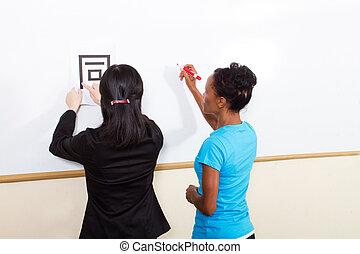 nauczanie, litera, nauczyciel, chińczyk