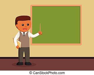 nauczanie, męski nauczyciel, afrykanin