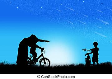 nauczanie, macierz, sylwetka, jeżdżenie na rowerze, syn