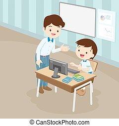 nauczanie, nauczyciel, chłopiec, komputer, student