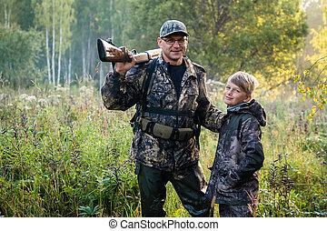 nauczanie, o, syn, poprawny, armata, ojciec, korzystać, bezpieczeństwo, polowanie, nature., jego