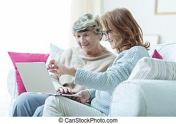 nauczanie, rodzaj, dama, carer, stary
