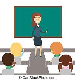 nauczyciel, classroom.