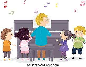 nauczyciel, dzieciaki, stickman, ilustracja, piano