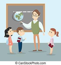 nauczyciel, kids.