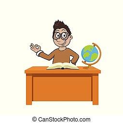 nauczyciel, klasa, nauczanie, samiec, pokój