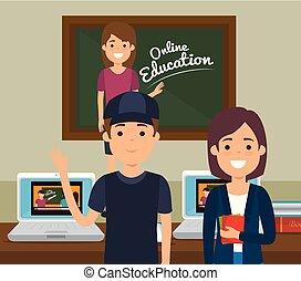 nauczyciel, kobieta, wykształcenie, chalkboard, online