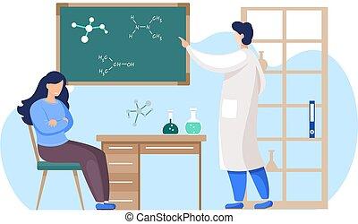 nauczyciel, nauka, chalkboard, nauczanie, reputacja, klasa, profesor, szkoła dziewczyna, student