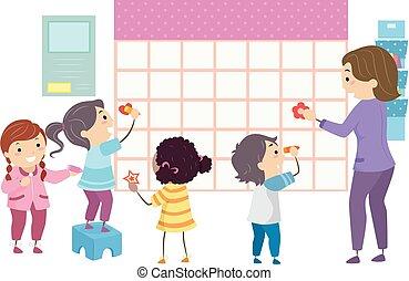 nauczyciel, studenci, dzieciaki, stickman, szkoła, kalendarz
