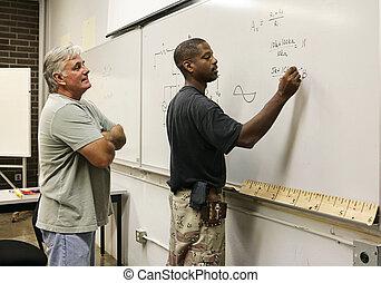 nauczyciel, student, oglądając