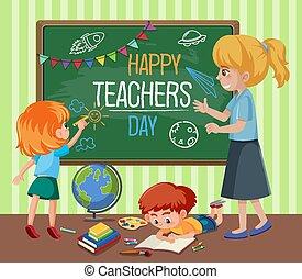 nauczyciel, tablica, dzień, szczęśliwy, tekst, klasa, nauczycielski, dzieciaki