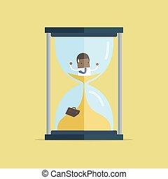 naufrage, être, business, piégé, sand., temps a expiré, thèmes, date limite, courant, sablier, africaine, homme affaires, dehors, gestion, design.