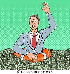 naufrage, art, réussi, argent., lifebuoy., pop, vecteur, illustration, homme affaires, homme