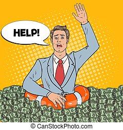 naufrage, art, réussi, illustration, argent., pop, lifebuoy, vecteur, demander, homme affaires, help., homme