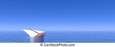 naufrage, -, bateau, render, 3d