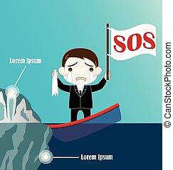 naufrage, homme affaires, iceberg, entrer en collision, bateau