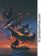 naufrage, trésor, regarder, bateau, pirate, bateau