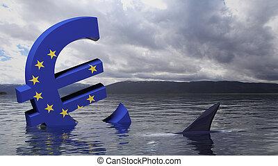 naufrage, union, symbole, eau, drapeau, européen, euro