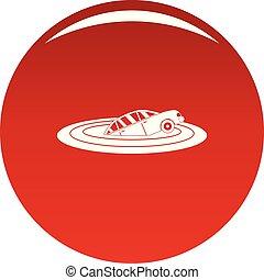 naufrage, voiture, vecteur, rouges, icône
