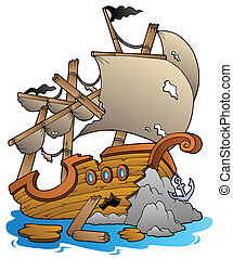 naufragio, con, pietre