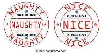 Naughty and nice stamps