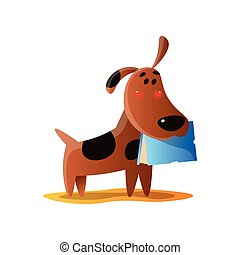 Naughty brown cartoon dog carrying book in mouth isolated on white background
