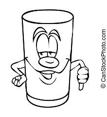 Cartoon Glass Showing Thumb Down