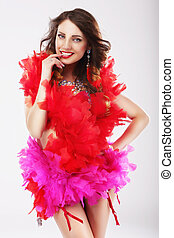 Naughty Funny Woman in Red Stagy Costume