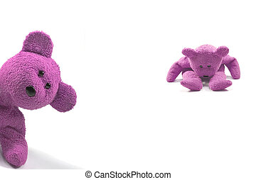 Naughty girl bears - Two bears looking naughty against a ...